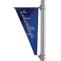 "24"" x 48"" 18 oz Opaque Vinyl Triangular Boulevard Double-Sided Banner"